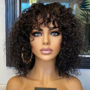 Real Human Hair Wig Curly Wave Wigs With Bangs Full Machine None Lace Front Wigs