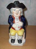 Antique Vintage  Colonial Man Ben Franklin Pitcher/Lid Figurine Toby England