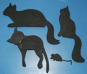 Details About Set Of 5 Cat Kitten Mouse Silhouettes Shelf Door Window Trim Critters