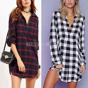 UK Womens Check Shirt Blouse Ladies Long Sleeve Plaid Tartan Dress ...