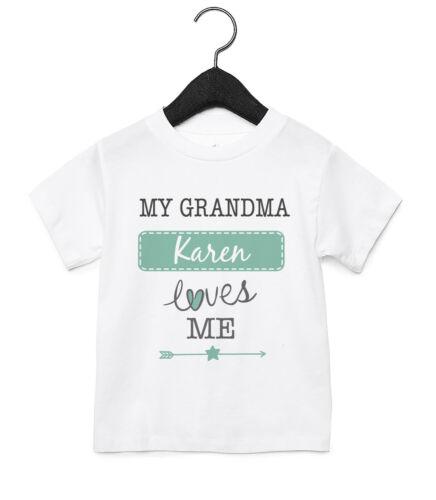 Ma grand-mère m/'aime Personnalisé pour Bébé T Shirt Enfants Drôle Cadeau Mignon