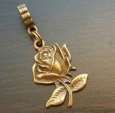 Rose Flower Bud Bronze Tone Dangle Bead for European Style Charm Bracelet