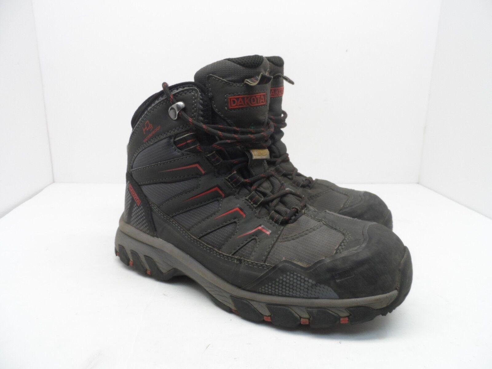DAKOTA Men's Steel Toe Steel Plate Waterproof Mid Cut Safety Hiking Boots 7EE