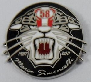 NEW-Marco-Simoncelli-039-Cat-039-enamel-badge-Super-Sic-58-Moto-GP-Rossi