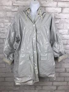 Vintage Slippery When Wet Shiny PVC Vinyl Raincoat Hood Jacket White Stripes M