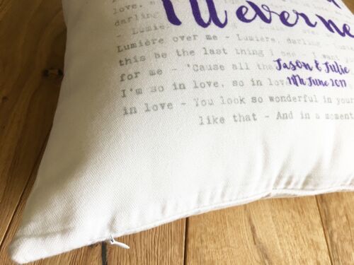 Aerosmith I Don/'t Want To Miss A Thing Lyrics Personalised Cushion  Wedding Gift