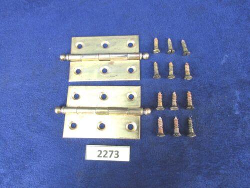 "Edison Disc Phonograph 2-1//2/"" Solid Brass Ball-Tip Door Hinge Pair 2273, 3284"