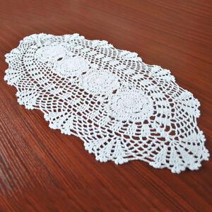 Oval-Vintage-Hand-Crochet-Cotton-Doily-White-Lace-Table-Mat-30x70cm-Floral