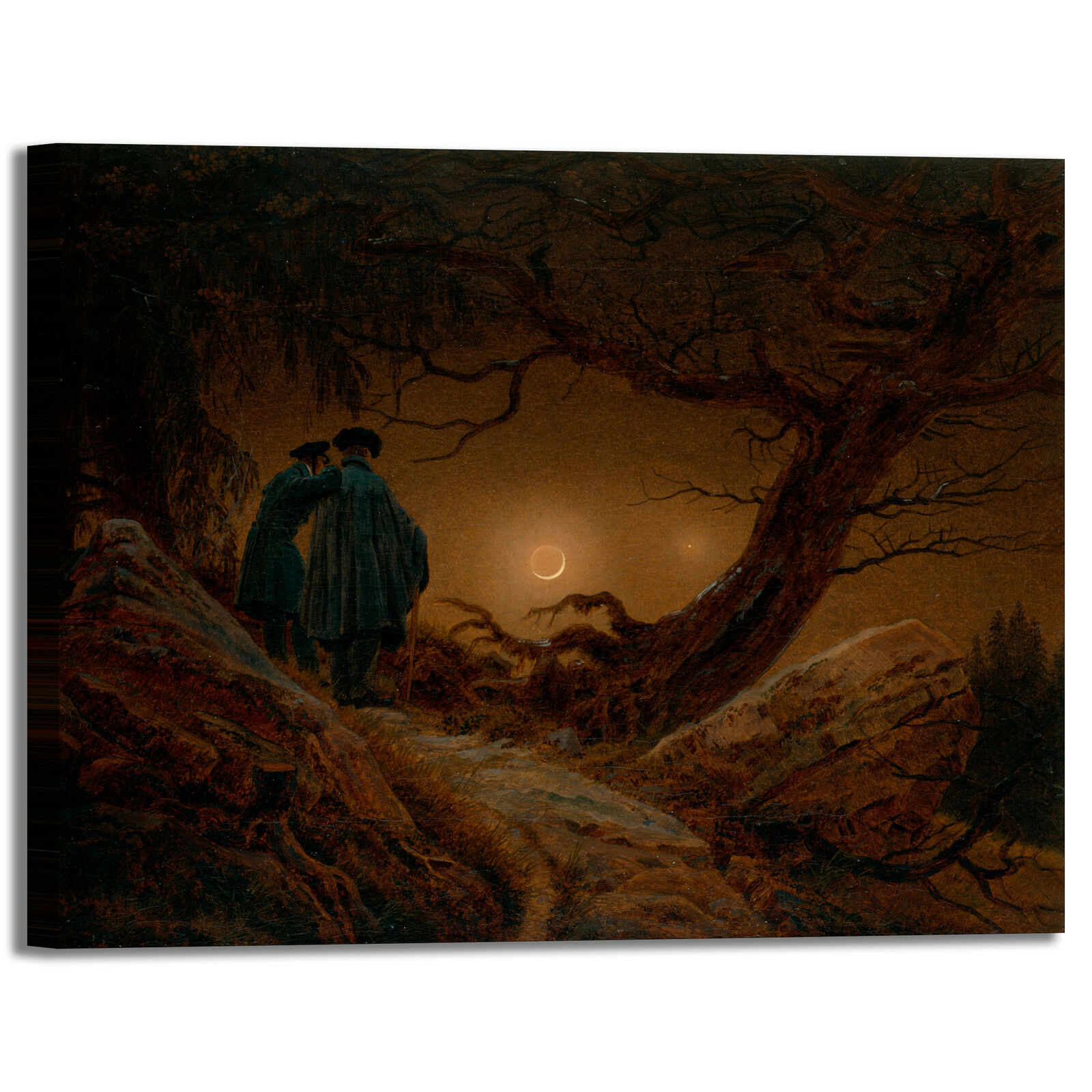 Caspar uomini e la luna design quadro stampa tela dipinto telaio arroto casa