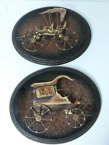 Vintage-3D-Lot-Of-2-Brass-Art-Antique-Car-Ice-Cart-Wagon-Wall-Hangings-on-Wood