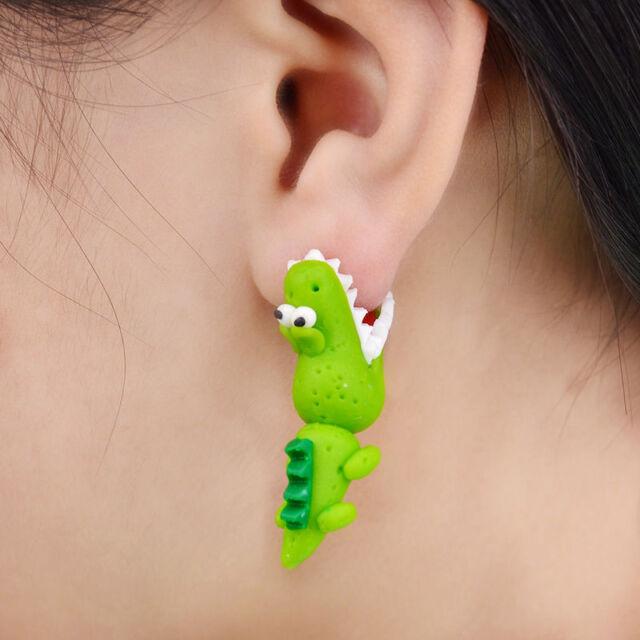 Funny Handmade Polymer Clay Crocodile Stud Earring Women Animal Earrings