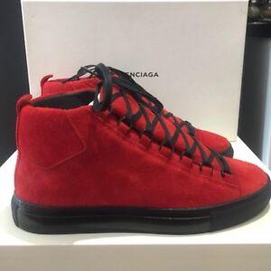 buy online 9fa52 281f2 Dettagli su Designer Balenciaga Arena High Top Sneaker Scarpe Da Ginnastica  UK 7. nero in camoscio rosso- mostra il titolo originale