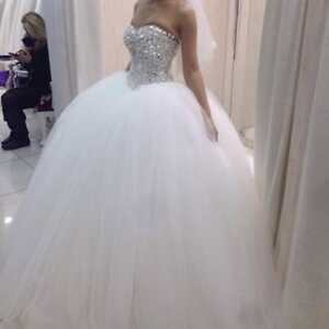 d1a4881e043 Image is loading Sweetheart-Tulle-Wedding-Dress-Sparkle-Crystal-Bead-Formal-