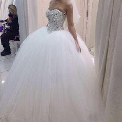 Crystal Beads Mermaid Bridal Gown Sweetheart Long Tulle Beach Ball Wedding Dress