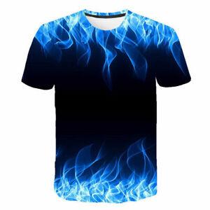 Men-3D-Fire-Digital-Graphic-Print-Casual-Short-Sleeves-T-shirt-Blue-6XL