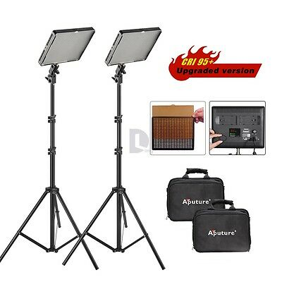 2 SET 2* Aputure Amaran AL-528W LED Video Light W/ 2M (6.5ft) Light Stand