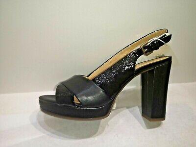Détails sur GEOX sandale cuir noir talon 8cm Valeur 129E Pointures 36,37,39,39.5,40,41