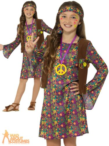 Girls Hippie Costume 1960s 70s Hippy Childs Book Week Fancy Dress Outfit Kids