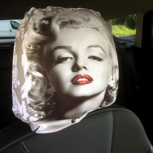 Marilyn Monroe Design Car Seat Head Rest Covers Pack Of 2 Made In Yorkshire