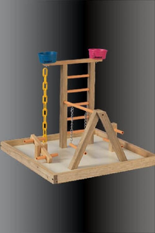 Parred Perch Pet Bird Play Gym Stand Table Top Perch