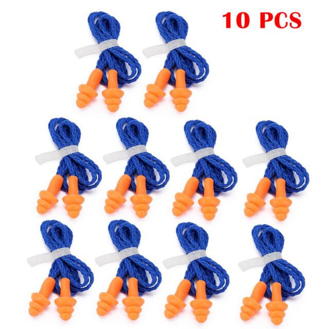 10PCS Profi Gehörschutz Ohrenstöpsel mit Schnur Stöpsel Ohr Schutz Gehörstöpsel
