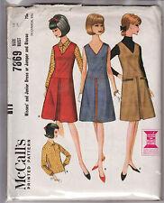 "7869 McCALLS c.1965 - V-neck JUMPER/DRESS w BLOUSE - Sz 14 B 34"""