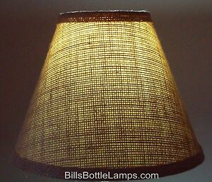 "Rustic Cottage Cabin Burlap Table Light LAMP SHADE ""Clip-On"" Bulb 9"" inch Cone"