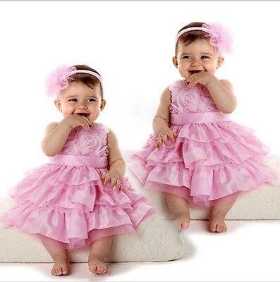 Rose Garden Pink Rosette Silk Dress Easter Flower Baby Girl Wedding + Headband