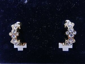 Details About Signed Swarovski Earrings Crystal Half Hoop Clip On Gold Plate New