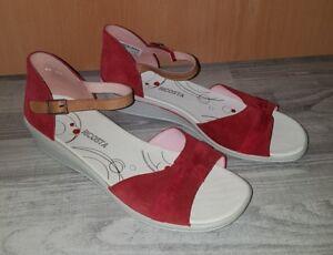 best service 4e345 d0853 Details zu ☆ Ricosta Damen Sandalen Schuhe ☆ Absatz ☆ rot grau ☆ Gr. 42 ☆  NEU ☆