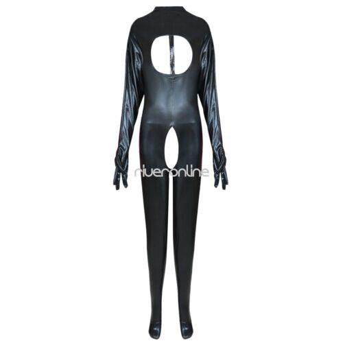 Latex Catsuit Open Bust Bodysuit CatWomen Costume Open Crotch Jumpsuit Halloween