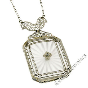 Ancien-Art-Deco-14K-or-Grand-Camphre-Verre-Diamant-Filigrane-Pendentif-Collier