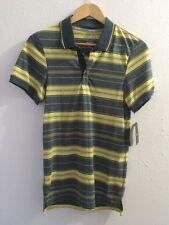 Nike Rafael Nadal Yellow Blue Stripe Tennis Shirt XS! Rare! NWT !