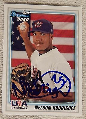 Cleveland Indians Nelson Rodriguez Signed 2010 Bowman USA Baseball Auto Card