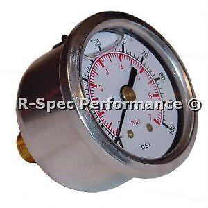 Fuel Pressure Gauge Glycerine Oil Filled For FPR Regulator Rail Pump etc 1//8