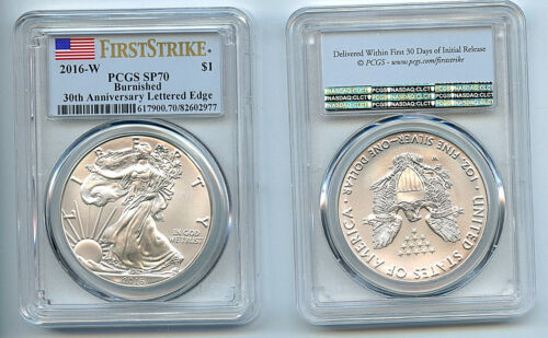 2016 W Burnished Silver Eagle Dollar PCGS SP70 Coin First Strike Flag 30th C39