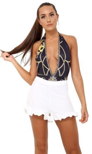 Womens Plain Crinkle Look Bottom Frill Hem Detailing Mini Skirt Overlay Shorts