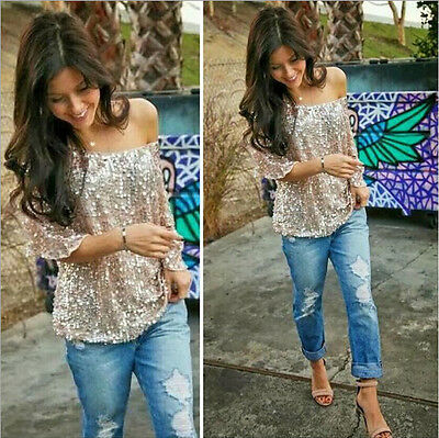 Sparkle 3/4 Sleeve Tank Hot Sequin Coctail Womens Glitter Top Party T-Shirt