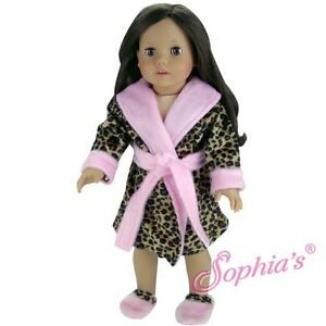 3pc-Robe-Set-fits-American-Girl-18-inch-doll-clothes-Leopard-print-Robe-Slippers