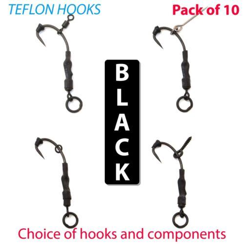 10 x noir Ronnie Rigs Cheveux Rigs Téflon Hameçons Carpe Rigs Pêche Pop Up Tackle