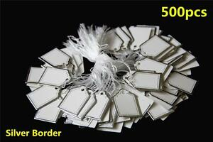 500pcs-White-Paper-String-Price-Tag-Tie-Silver-Border-Label-Jewellery-Display