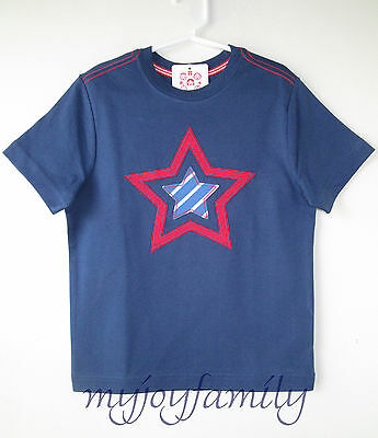 HANNA ANDERSSON Get Appy Tee Shirt Storm Cloud Blue Red Stars 120 6-7 NWT