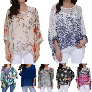 e06c0094fcd Image is loading Womens-Chiffon-Blouse-Loose-Baggy-Tunic-Kimono-Sleeve-