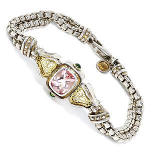 William-Schraft-Pink-Topaz-Bracelet-with-Tsavorite-s-in-Sterling-amp-18kt-Gold