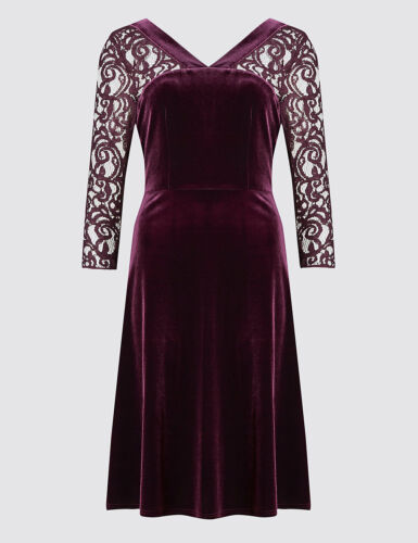 pizzo maniche Flare New in Dress velour 16 Borgogna Sz Uk M in Collection con s Skater Fit qx0HPXfrw0