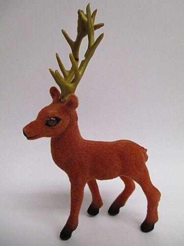 """6 Miniature Flocked Brown Deer Buck w// Antlers 4.5/""""  ~ Christmas Craft decor"""