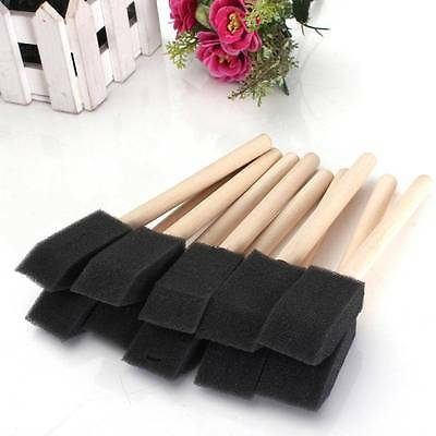 20 x 1'' Foam Sponge  Brushes For Wide Painting Drawing Art Craft Wood Handle