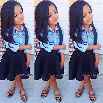 2pcs/set Baby Girls Kids Princess Long sleeve Top Blouse +Black Skirt Clothing