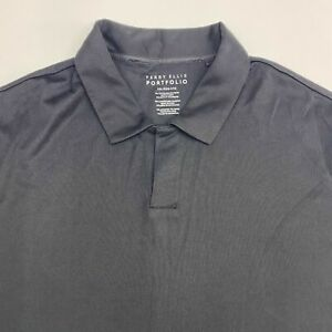 Perry Ellis Portfolio Polo Shirt Men's 2XL XXL Short Sleeve Black Cotton Blend