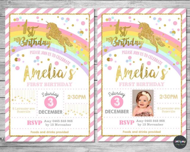 Unicorn Invitation Invite 1st First Birthday Card Pink Gold Rainbow